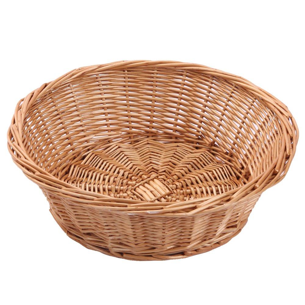 Kingwillow, Wicker Basket Fruit Bread Tray Storage Basket, Fruit bowl, Round Stackable Basket, 2 Pieces.