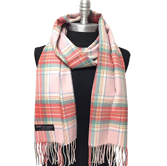 6ee35b7ba Women's 100% Cashmere Scarf Check Plaid Pink - Rust - Green - Blue ...