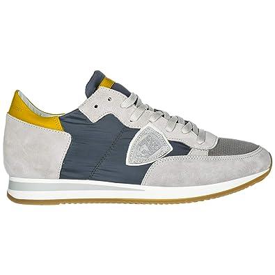 4d7a0d745da Philippe Model Chaussures Baskets Sneakers Homme en Daim Tropez Gris EU 42  A19ETRLUW104