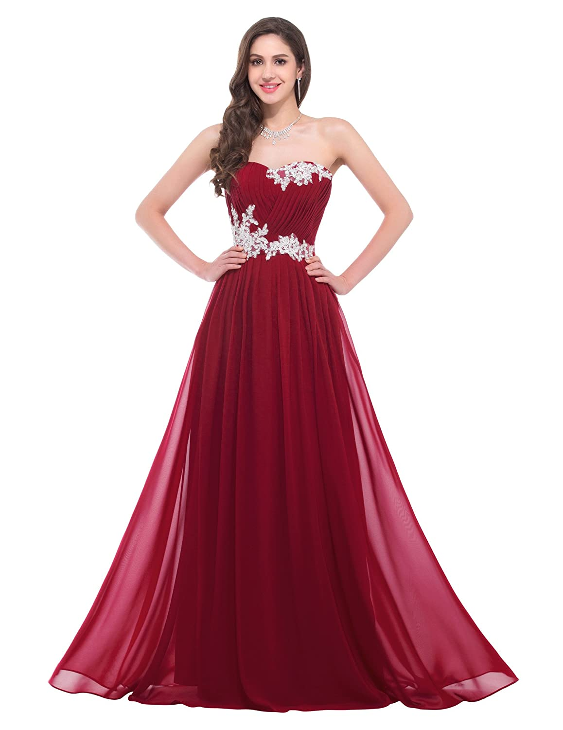 Amazon.com: GRACE KARIN Strapless Long Evening Dress with Appliques ...