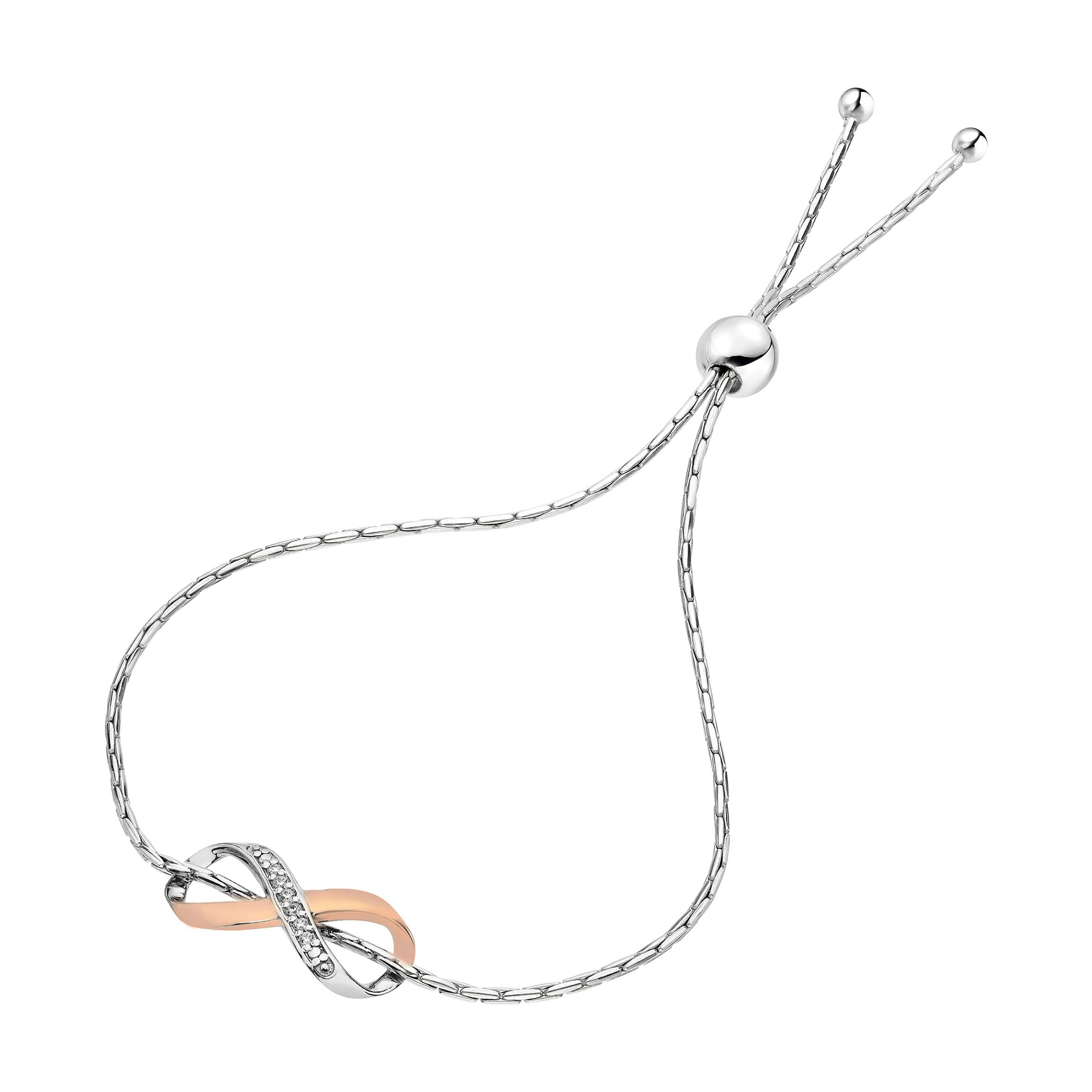 1/20 cttw Diamond Bolo Bracelet Rose Gold Plated Over .925 Sterling Silver Infinity - Pink