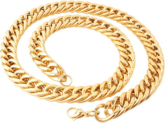 W:6-18mm L:24inch Aooaz Mens Necklace Stainless Steel Curb Cuban Necklace Mens Necklace Jewelry Hiphop Chain for Men