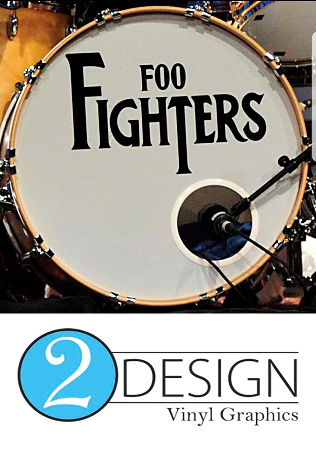 Custom personalised band drumkit decal sticker bass drum head skin amazon co uk musical instruments