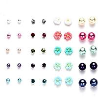 Onnea Multi Pairs Disc Ball Flower Earrings Set for Girls, Hypoallergenic