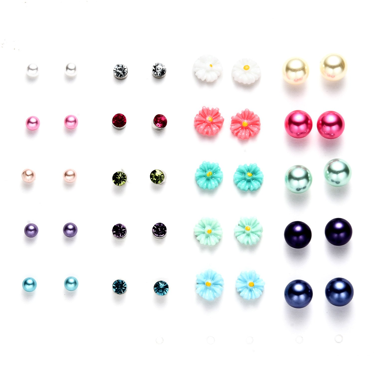 16 Pairs Cute Flower Animals Resin Stud Earrings Sets for Girls Bensoco E-0480