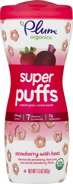 Plum Organics Super Puffs Strawberry With Beet, 1.5 Oz (Pack Of 4)