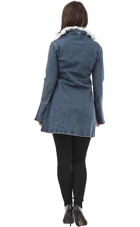 para Mujer Tela Vaquera Abrigo con Piel sintética en el Cuello Manga Larga algodón Tela Ligeramente elástica sin Forro: Amazon.es: Ropa y accesorios
