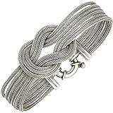 Bracelet femmes argent 6 rangs dépoli rhodié longueur 19 cm largeur 2,23 cm profondeur 0,4 cm