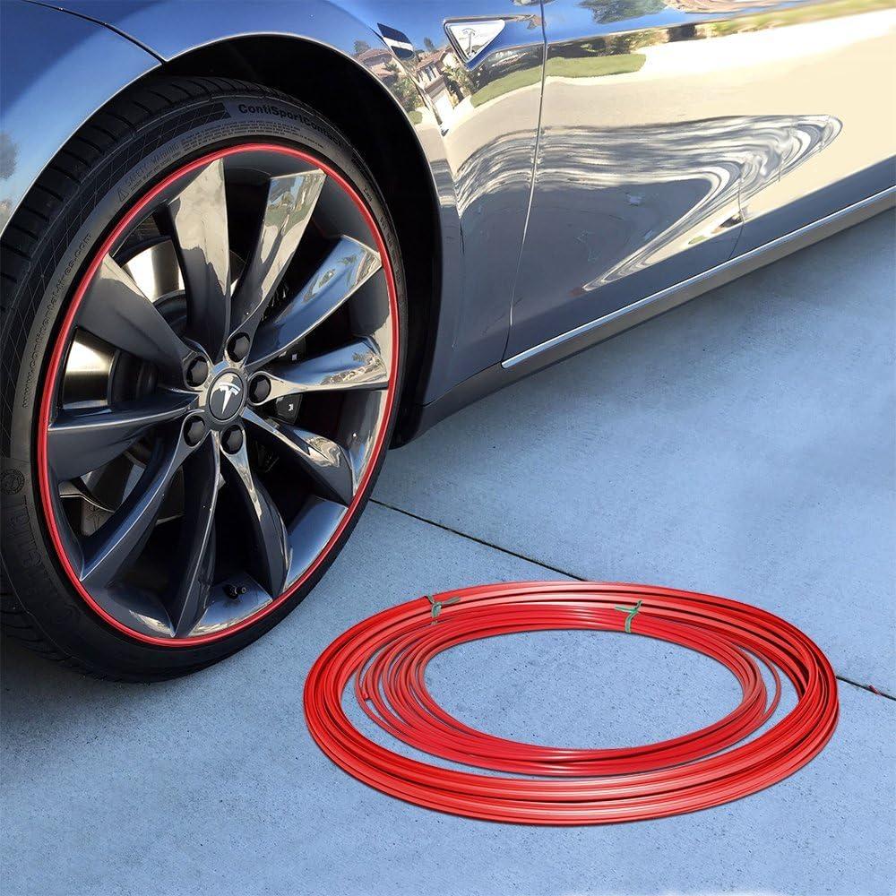 Amazon Com Upgrade Your Auto Wheel Bands Red Insert In Red Track Pinstripe Rim Edge Trim Automotive
