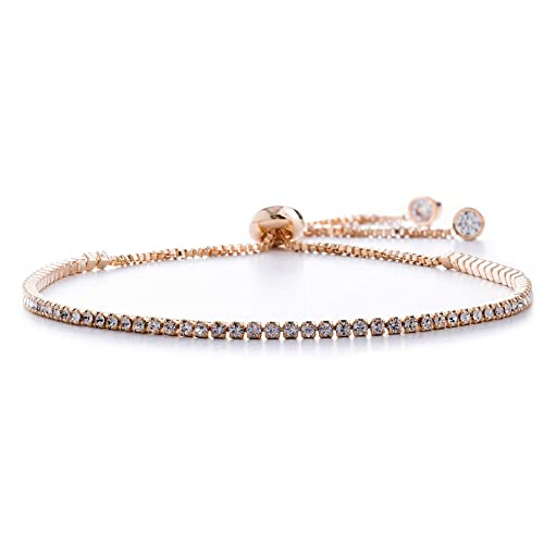 a7c0b4f7cd7718 Devin Rose Adjustable Bolo Style Tennis Bracelet for Women Made with 2mm Swarovski  Crystal in Rose