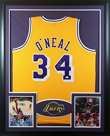 89da019f317 Shaquille O Neal Los Angeles Lakers Autographed Signed Custom Framed Jersey  Yellow JSA Witnessed Certified