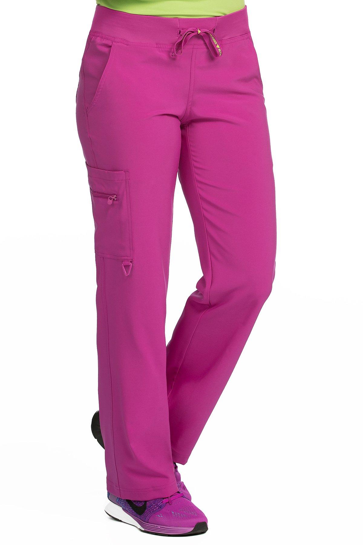 Med Couture Scrub Pants Women, Yoga Cargo Pocket Scrub Pant, XX-Large, Magenta