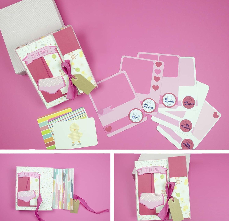 Photo Album - baby album - Es ist ein Mädchen - Baby Mädchen - Foto Buch des ersten Lebensjahres Ihres Kindes, ganz von Hand mit der Technik des Scrapbooking erstellt.