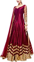 Krisha Creations Women's Cotton Silk Dress Material (KCN82_Red_Free Size)