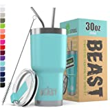 BEAST 30oz Teal Blue Tumbler - Stainless Steel Insulated Coffee Cup with Lid, 2 Straws, Brush & Gift Box by Greens Steel