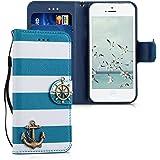 kwmobile Étui en cuir synthétique chic pour Apple iPhone SE / 5 / 5S avec fonction support pratique. Design ancre en bleu blanc
