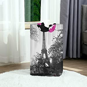 DAOPUDA Laundry Bag Grey Paris Eiffel Tower Waterproof Kiss Lips Printed Large Laundry Hamper Bags for Heavy-Duty Use with Strap,Standing Clothes Basket Collapsible for Dorm Travel Bathroom