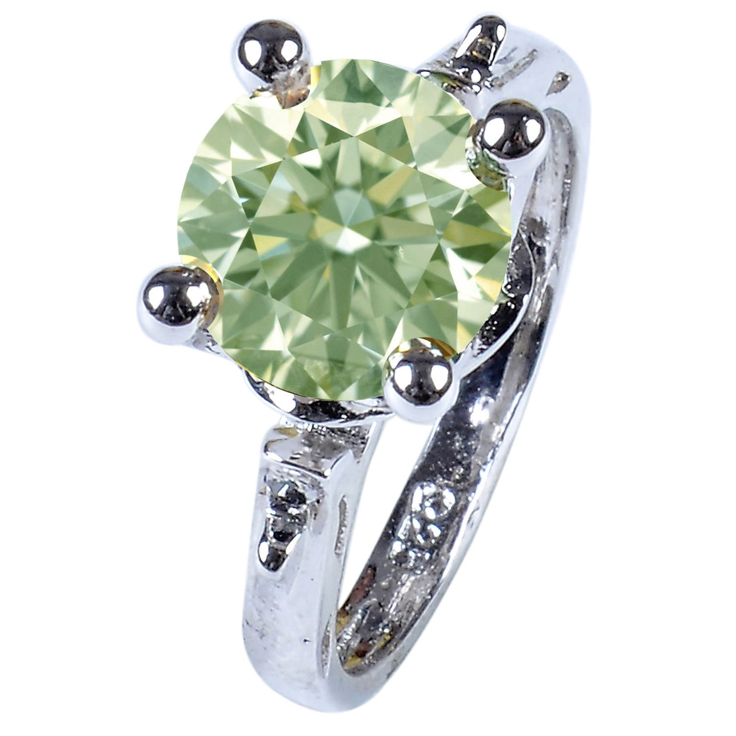 RINGJEWEL 2.78 ct VS1 Round Silver Plated Moissanite Engagement Ring Off White Light Green Color Size 7 by RINGJEWEL