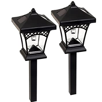 melbourne led solar path lights black 2 pack - Path Lights