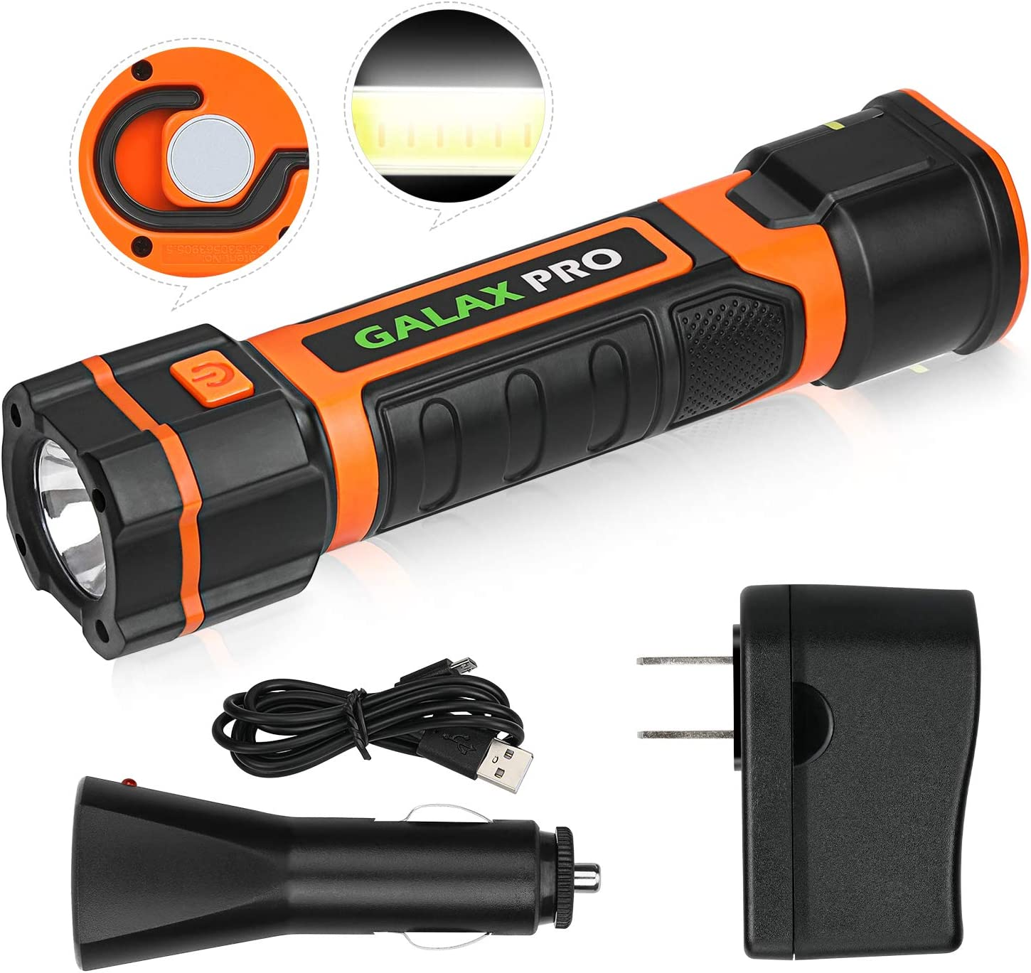 GALAX PRO Rechargeable 2 in 1 Telescopic Torch, Super Bright 280 Lumen, USB Cord & 2 Charger, Magnetic Base and Hook, Water Resistant, Ideal for Outdoor Camping Hiking Emergency and Daily Use