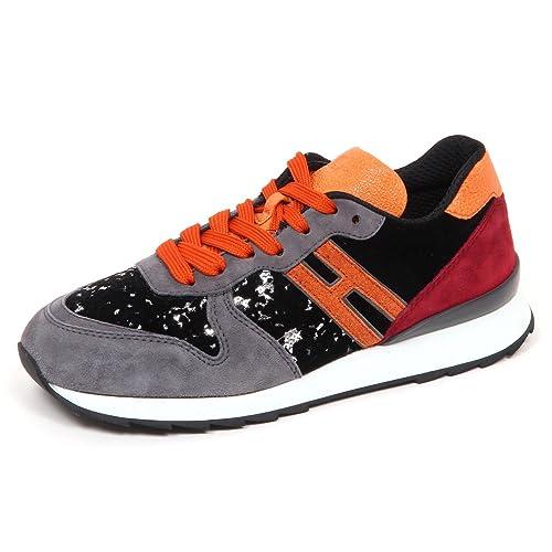 E4520 sneaker donna suede/velvet HOGAN R261 scarpe nero/grigio shoe woman