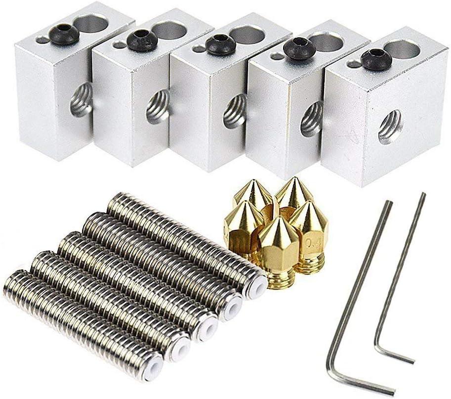 Zomiee - 5 extrusores de 30mm de longitud con tubos de 1,75mm y 6 boquillas extrusoras de impresión de latón de 0, 4mm, con 5 cabezales de aluminio para impresoras 3D MK8 M6 Makerbot Reprap