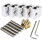 Zomiee MK8extrudeuse kit 5pcs Tube de 30mm Longueur extrudeuse 1.75mm + 5pcs 0.4mm extrudeuse Laiton Buse Têtes d'impression + 5pcs Bloc de chauffage en aluminium pour MK8M6MakerBot RepRap imprimante 3d