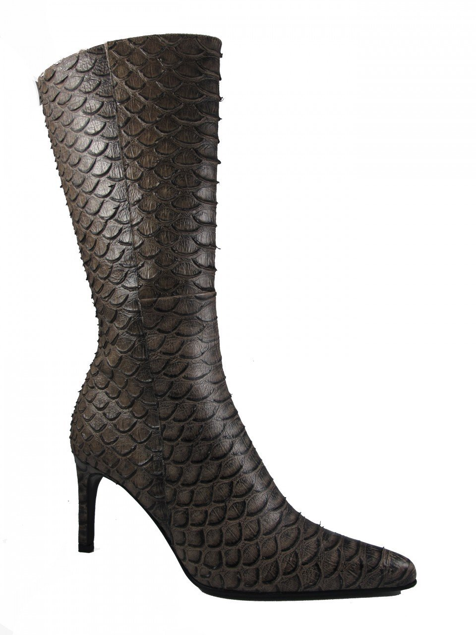 DA'VINCI 4051 Women's Italian Leather Python Print Dress/Casual Low Heel Pointy Toe Boot, Taupe Size 38