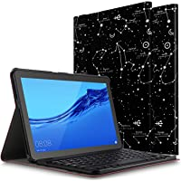 ELTD Tastatur Hülle für Huawei MediaPad T5 10 [Deutsches QWERTZ-Layout],PU Leder Schutzhülle mit magnetisch Abnehmbarer Kabellose Tastatur für Huawei MediaPad T5 10 10.1 Zoll [Black Constellation]