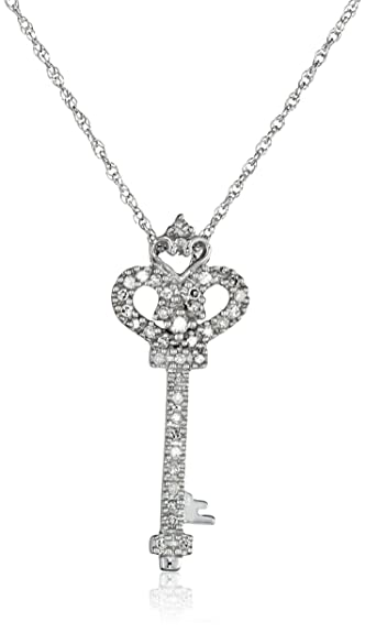 Amazon 14k white gold diamond heart and key pendant 110 cttw 14k white gold diamond heart and key pendant 110 cttw i j color aloadofball