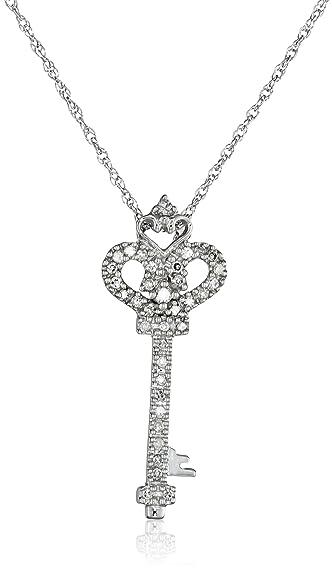 Amazon 14k white gold diamond heart and key pendant 110 14k white gold diamond heart and key pendant 110 cttw i j color mozeypictures Images