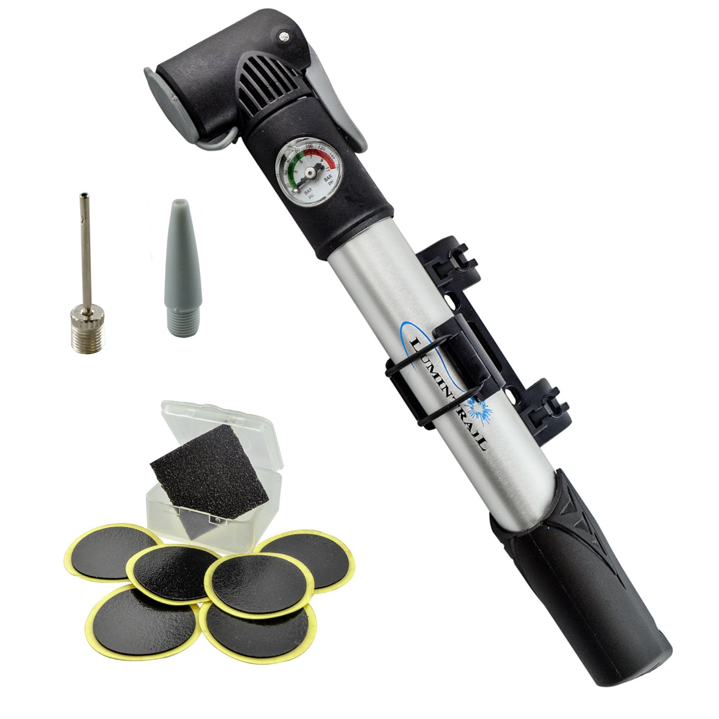 Lumintrail Mini Bike Pump with Gauge and Glueless Puncture Repair Kit w/Presta & Schrader Dual Head, Frame Mount