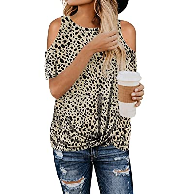 BLENCOT Women's Leopard Print Short Sleeve Cold Shoulder Tops Twist Casual Loose Blouse Shirts at Women's Clothing store