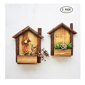 YOSPOSS maceta de madera hecha a mano para colgar, decoración de pared creativa flor contenedor para jardín interior/exterior, 2PCS(Large+Medium): ...