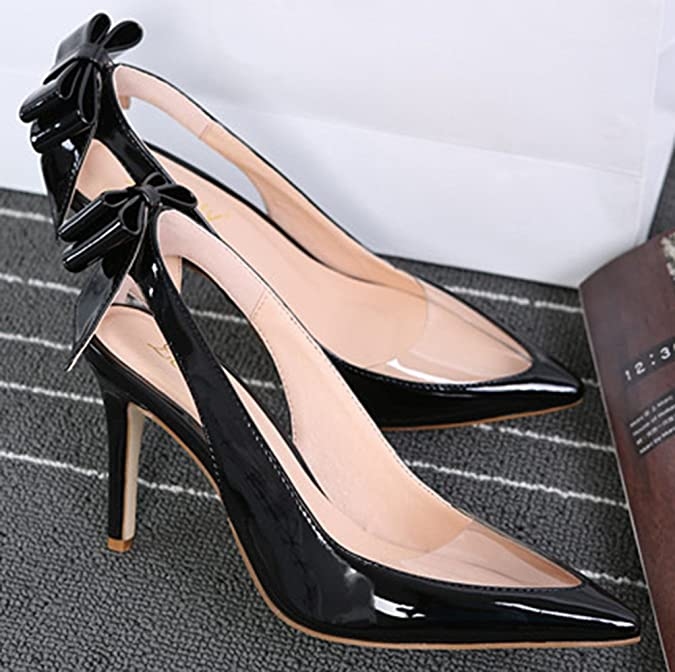 Aisun Damen Cut-out Lack Metallic Transparent Schleifen Slingback Stiletto Pumps Schwarz 40 EU