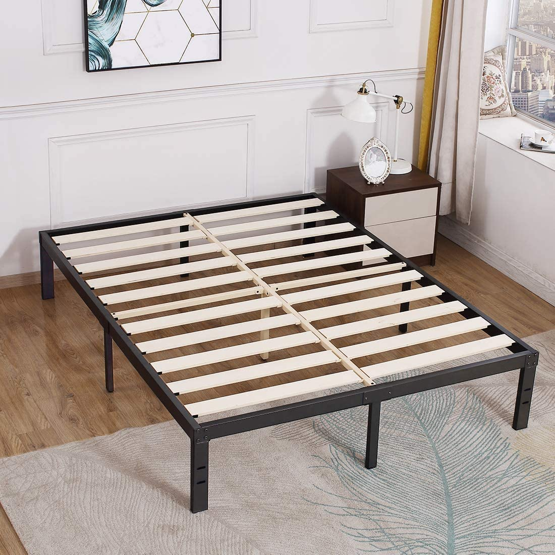Tatago 3500lbs Upgraded Heavy Duty Wooden Slats King Platform Bed Frame 14 Inch Tall Mattress Foundation Extra Strong Support No Noise No Box Spring Needed Kitchen Dining