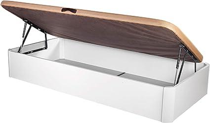 DHOME Canape Abatible Tapizado 3D con Apertura Lateral 4 válvulas Esquinas canapé Madera (90x190 Blanco, 30mm)