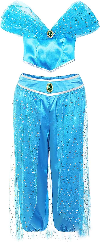 AmzBarley Niña Aladdin Princesa Jasmine Disfraz jazmín Tops Pantalones Manga Corta Traje Cosplay Actuación Carnaval Navidad Regalo Cumpleaños Danza Vientre Vestido de Princesa: Amazon.es: Productos para mascotas