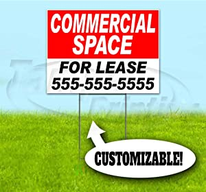 """Commercial Space for Lease Customizable (18""""x24"""") Corrugated Plastic Yard Sign, Bandit, Lawn, Decorations, New, Advertising, USA"""
