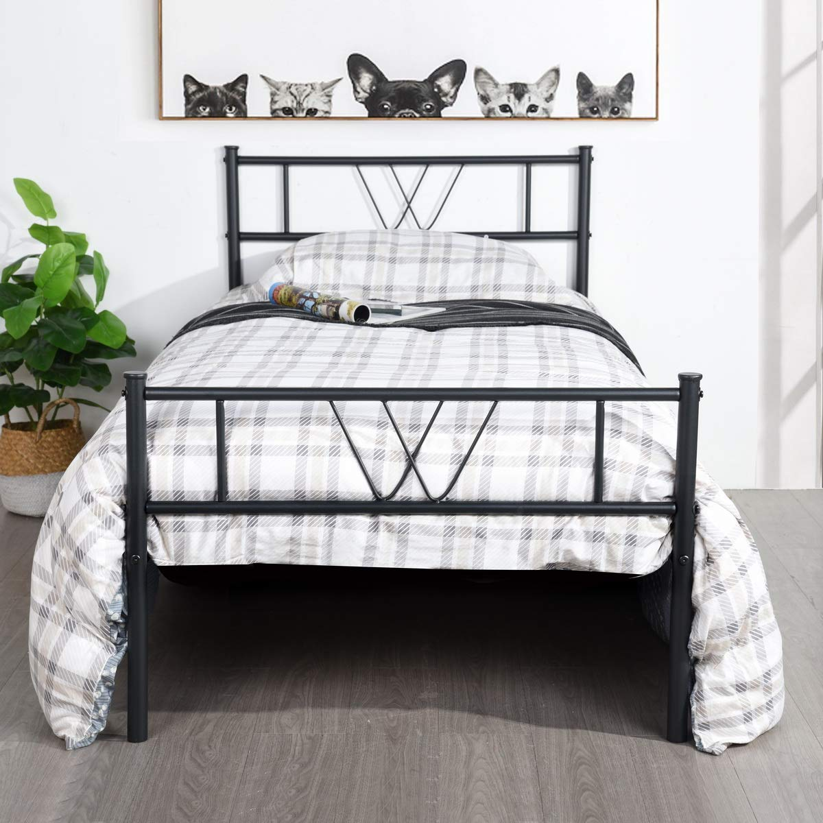 GreenForest Bed Frame Twin Size, Two Headboards Metal Mattress Foundation Single Platform Bed Frame No Box Spring Needed, Black by GreenForest
