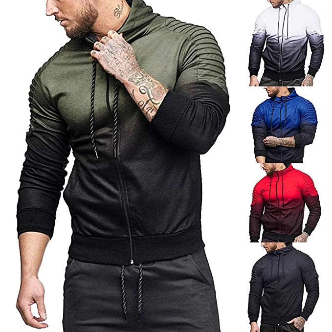 Amazon.com: SMALLE ◕‿◕ Clearance,Mens Autumn Winter Long Sleeve Splicing Fold Hooded Top Blouse Tracksuits: Clothing