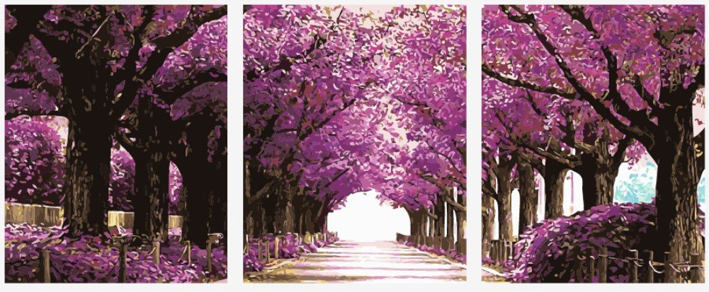 Wowdecor Paint by Numbers Kits for Adults Kids, Painting by Numbers 3 Pieces Pack - Romantic Street, Purple Trees 16x20x3P inches (Framed)