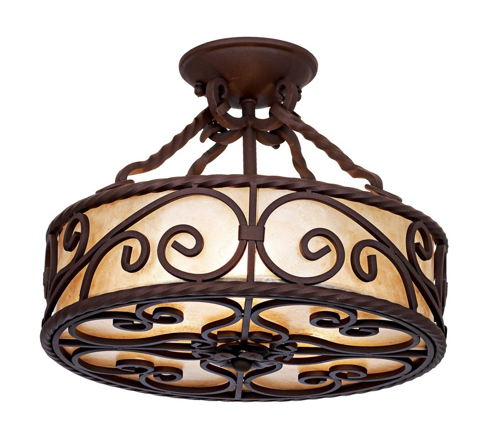 Natural Mica Collection Wide Iron Ceiling Light Fixture - Kitchen light fixture collections