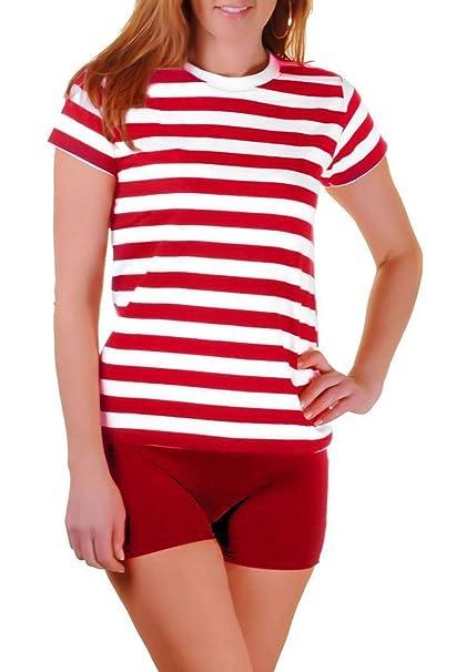 Islander Fashions Mujer de Rayas Rojas y Blancas de algodn Camiseta para Damas de Manga Corta de Lujo Top S/M/2XL: Amazon.es: Ropa y accesorios