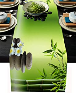 T&H XHome Dining Table Runner Dresser Scarf Linen Burlap Fabric,Japanese Zen Garden Bamboo Stone Plumeria Washable Table Runners 70 Inches Long for Farmhouse Home Kitchen Wedding Party Decor