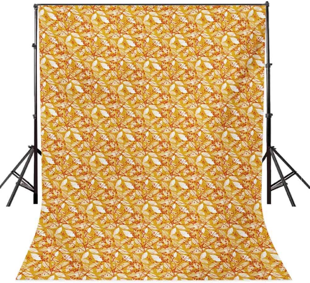 Fall Season Foliage Pattern with Warm Colored Background Leaf Silhouettes Background for Baby Shower Bridal Wedding Studio Photography Pictures Autumn 10x12 FT Photography Backdrop