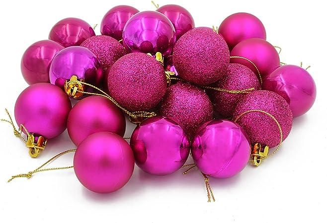 Rosa COOLWEST 4cm Natalizie Palle Set Confezione da Decorazioni per l Albero di Natale 24 Pezzi