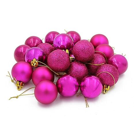 Christbaumkugeln Amazon.Coolwest 24 Teilig Weihnachtskugel Set Weihnachtskugeln Christbaumkugeln Weihnachtsbaumschmuck Baumkugeln Rosa Mehrweg