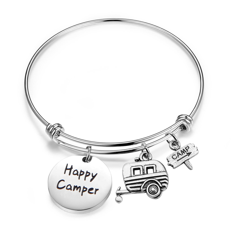 Gzrlyf Happy Camper Bracelet Wander Charm Bracelet Camping Gift Travel Bracelet Vacation Bracelet Sister Camping Gift (camper bracelet)