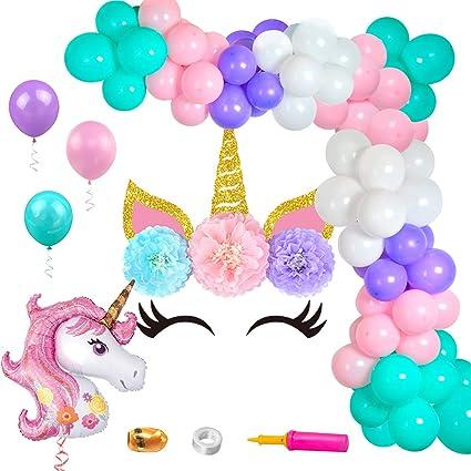 Amazon.com: KREATWOW Kit de globo de unicornio con fondo de ...